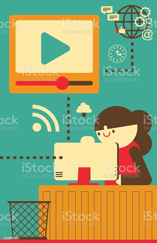 Uploading a Video vector art illustration