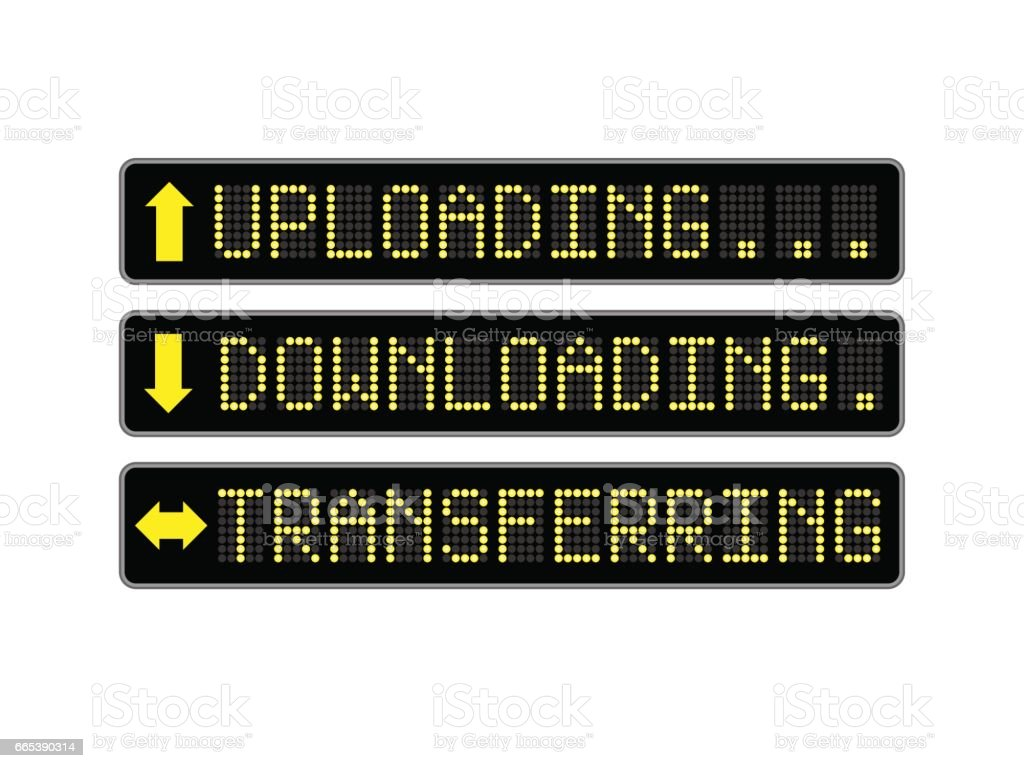 Uploading Downloading LED Signs vector art illustration