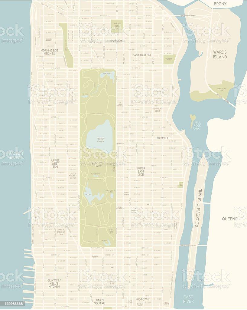 Upper Manhattan Map royalty-free stock vector art