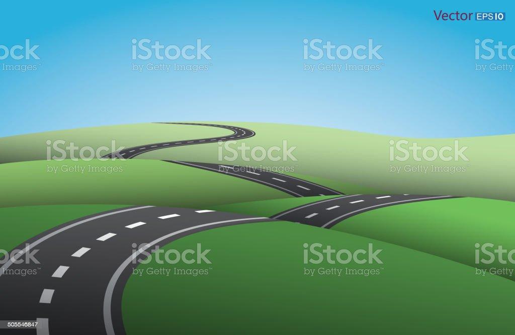 Ups and downs road vector art illustration