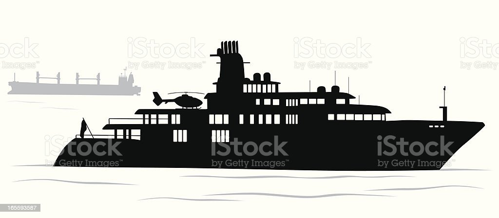Upscale Yacht Vector Silhouette royalty-free stock vector art