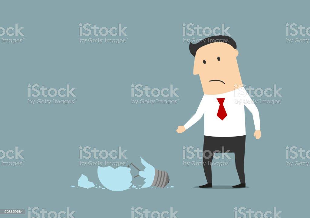 Upset businessman broke a light bulb vector art illustration