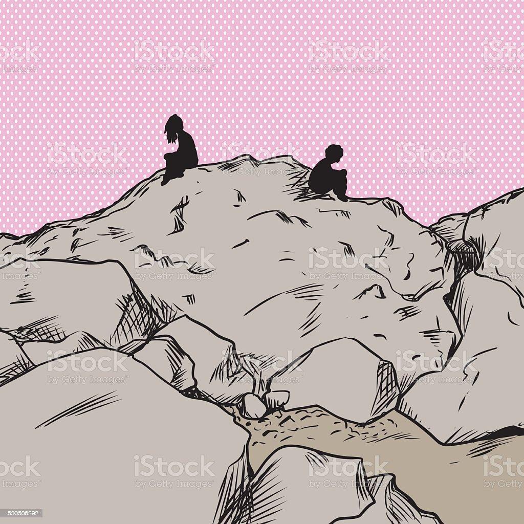 Upset lovers over pink on mountain vector art illustration