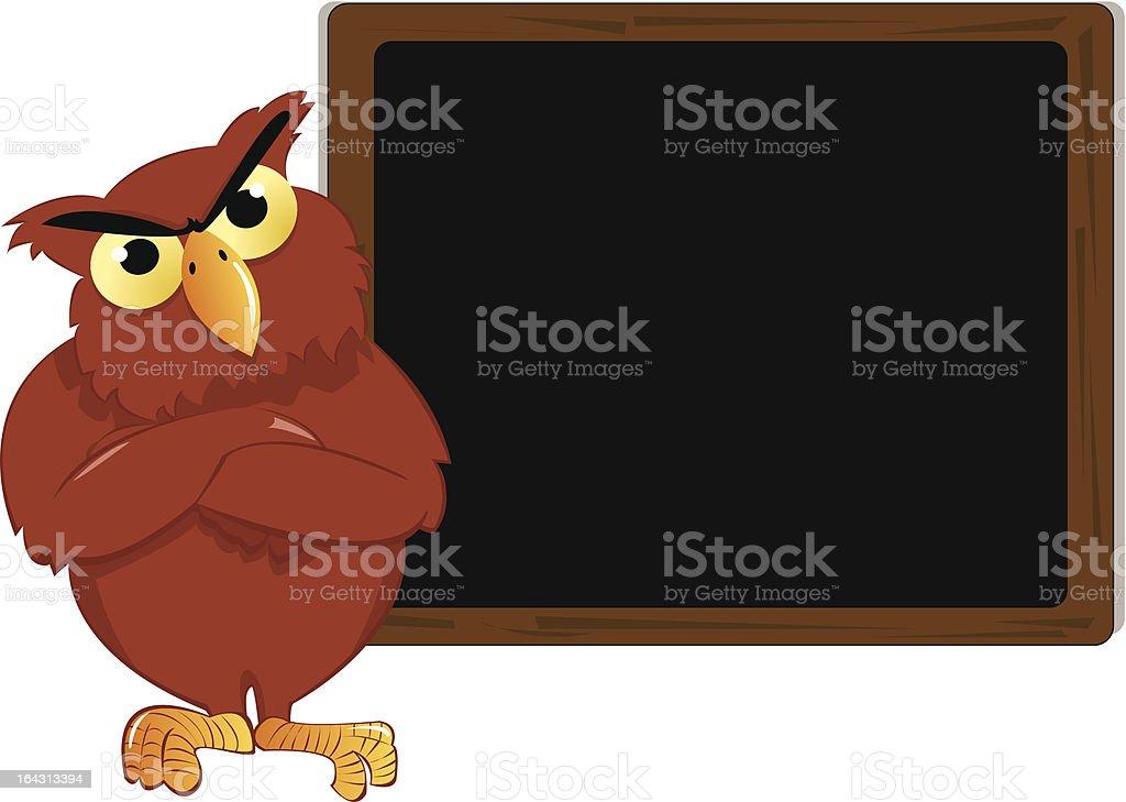 Upset Owl in front of Blackboard royalty-free stock vector art