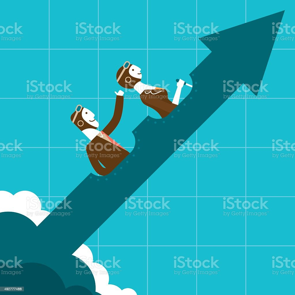 Uptrend Business Pilots | New Biz Concept vector art illustration