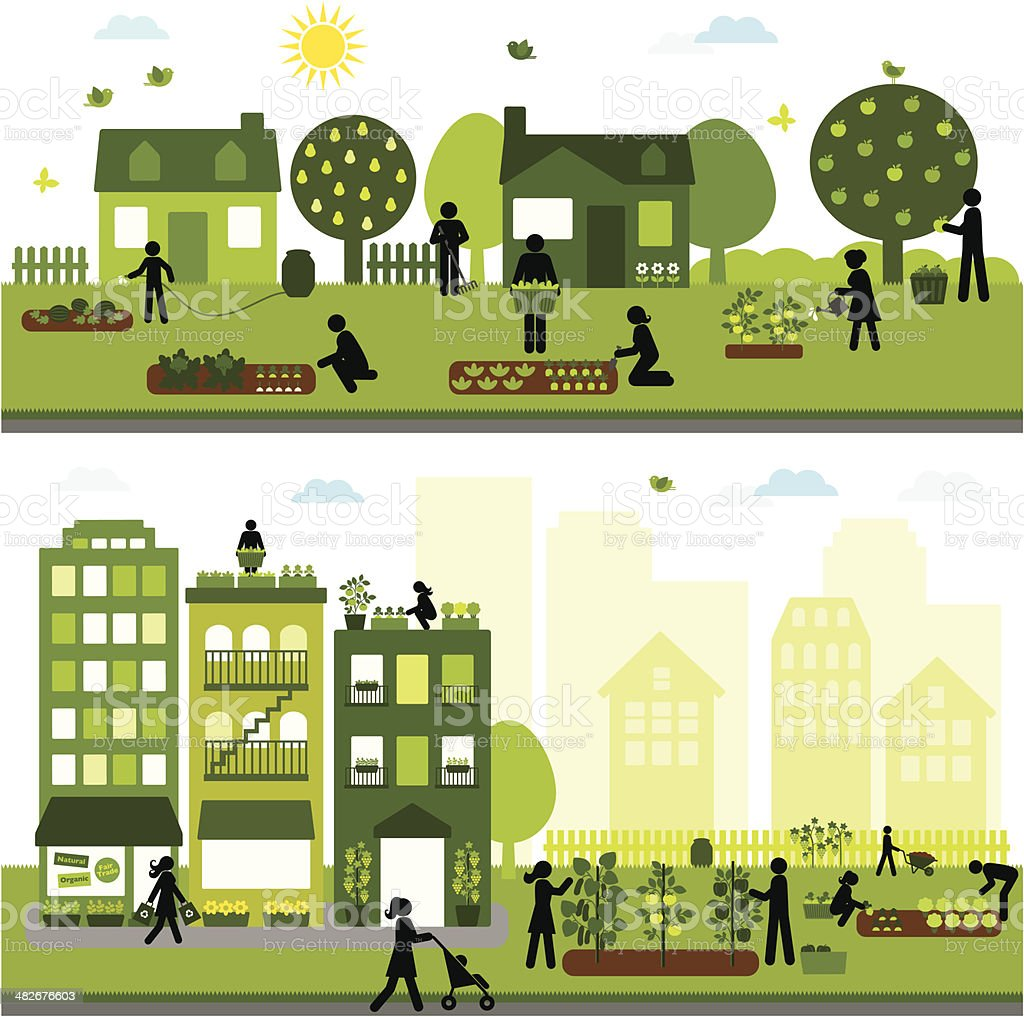 Urban Agriculture Community vector art illustration