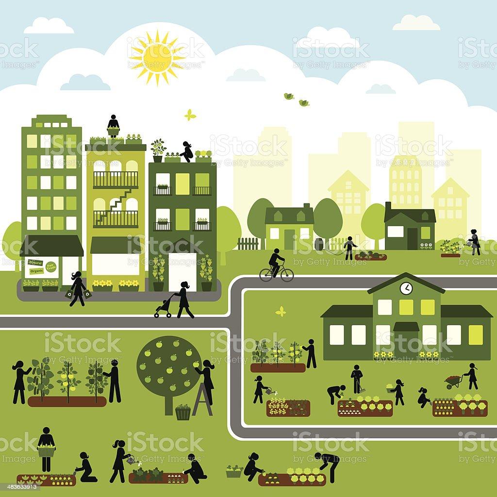Urban Agriculture Community vector art illustration