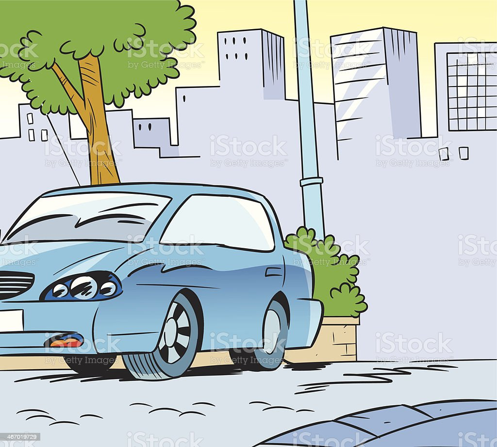 Urban background with car royalty-free stock vector art