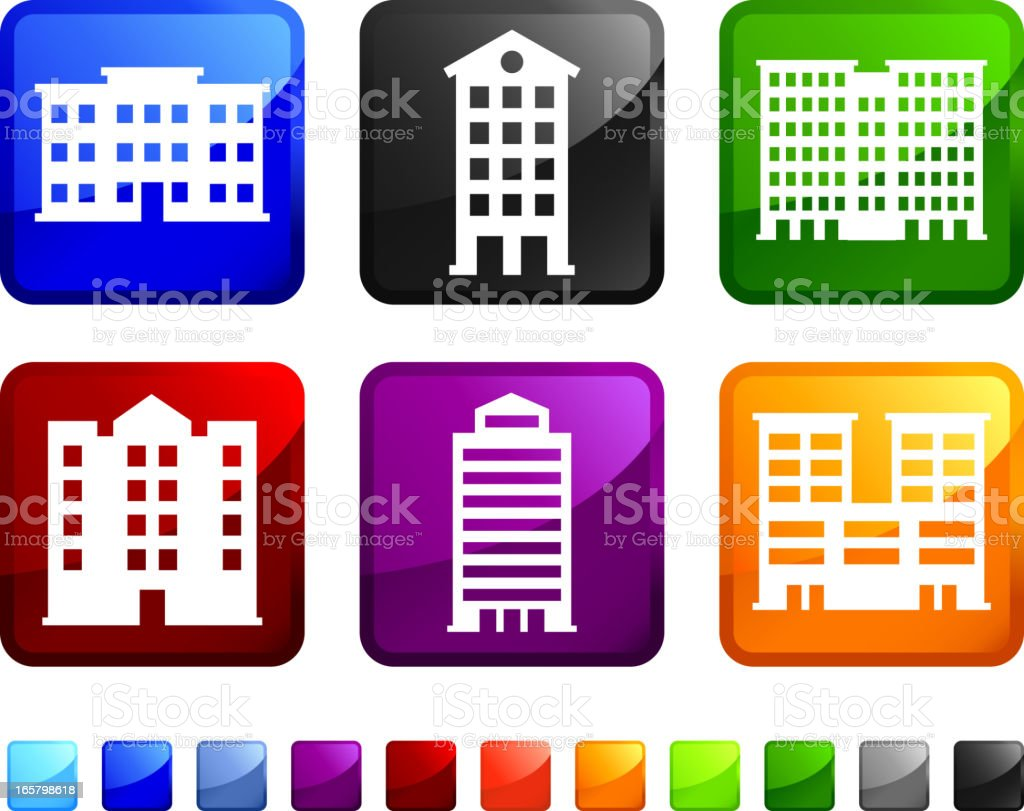 Urban Buildings royalty free vector icon set stickers royalty-free stock vector art