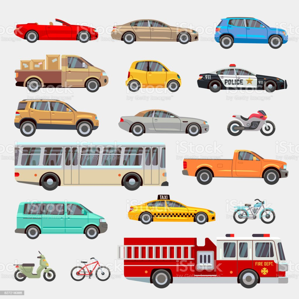 Urban, city cars and vehicles transport vector flat icons set vector art illustration