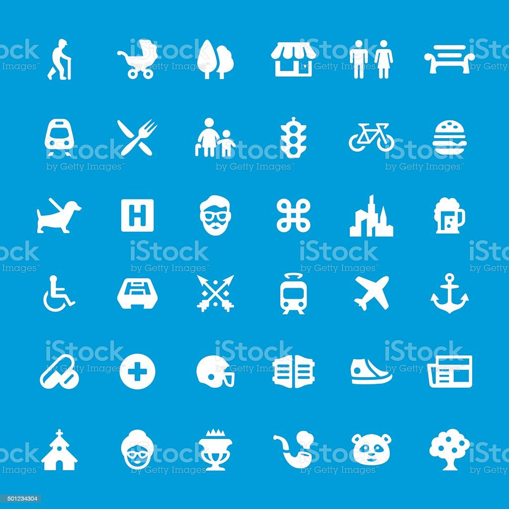 Urban City Life vector icons set vector art illustration