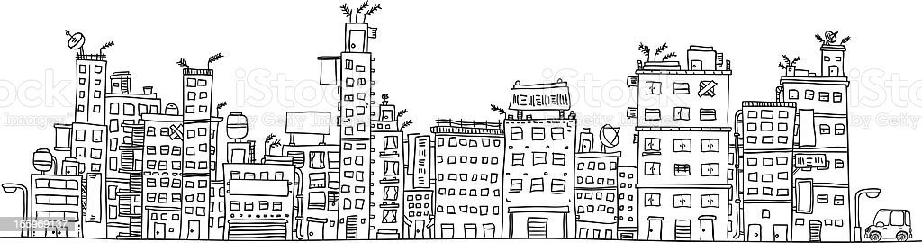 Urban city's building illustraion in black and white royalty-free stock vector art