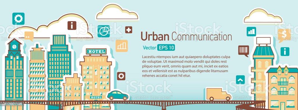 Urban Cityscape architecture building elements scene vector art illustration