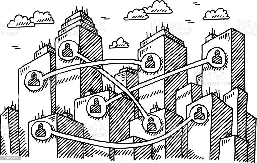 Urban Communication Cityscape Drawing vector art illustration