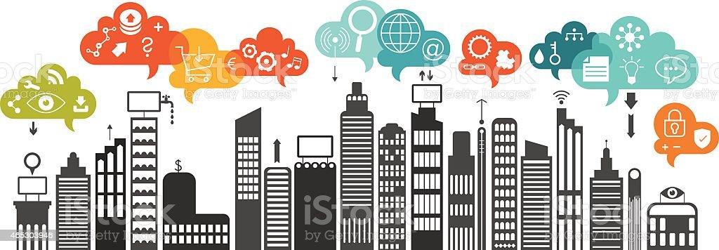 Urban Communication vector art illustration