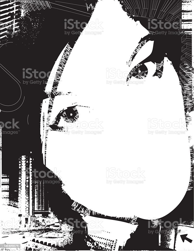 Urban design of a young woman's face stock photo