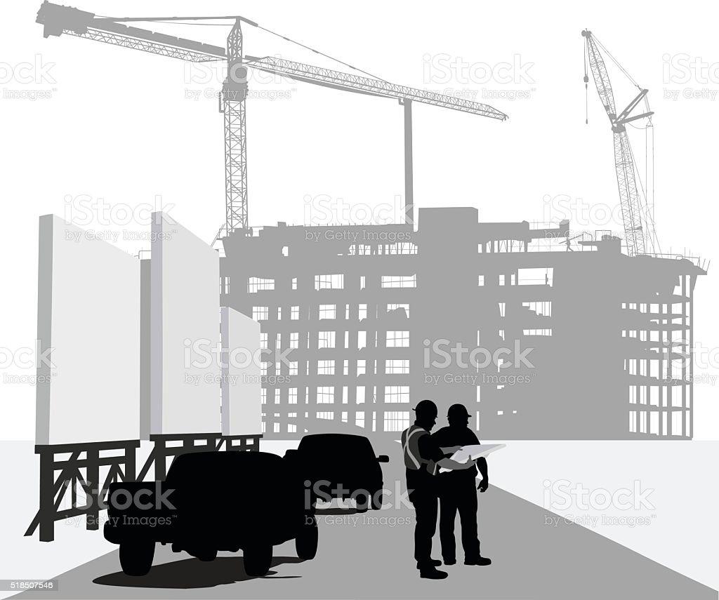 Urban Development Contractors vector art illustration