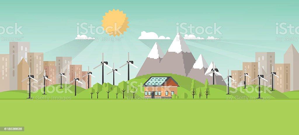 Urban Eco Landscape Flat Design. Eco concept. vector art illustration