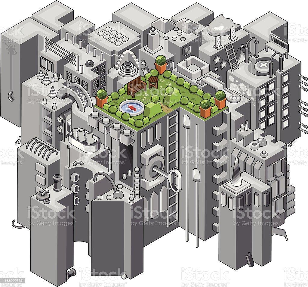 Urban garden vector art illustration