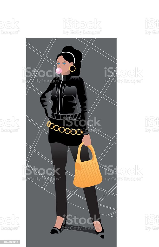 Urban Girl with chewinggum royalty-free stock vector art