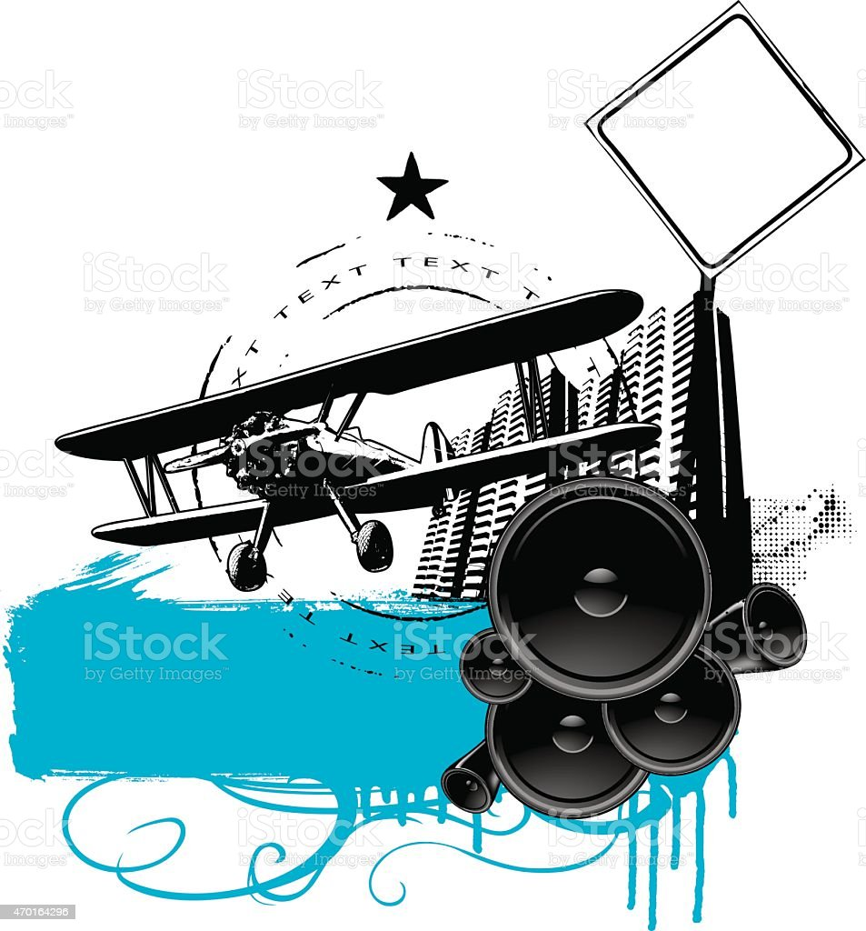 urban grunge banner with speaker plane and building vector art illustration