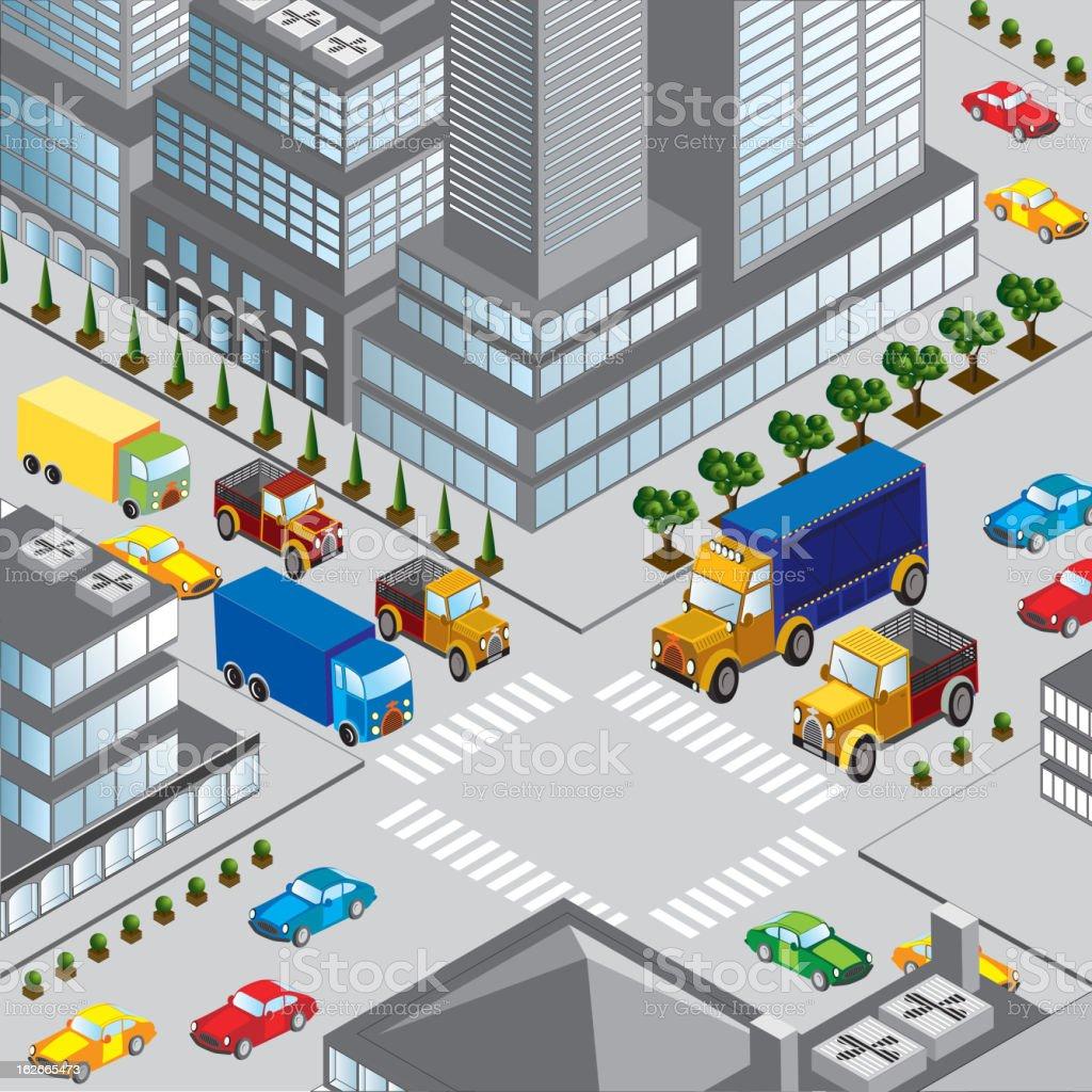 Urban intersection royalty-free stock vector art