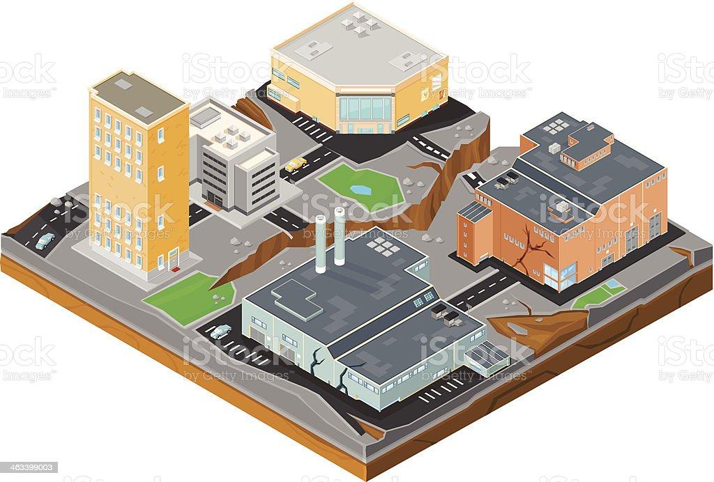 Urban Isometric Earthquake Disaster vector art illustration