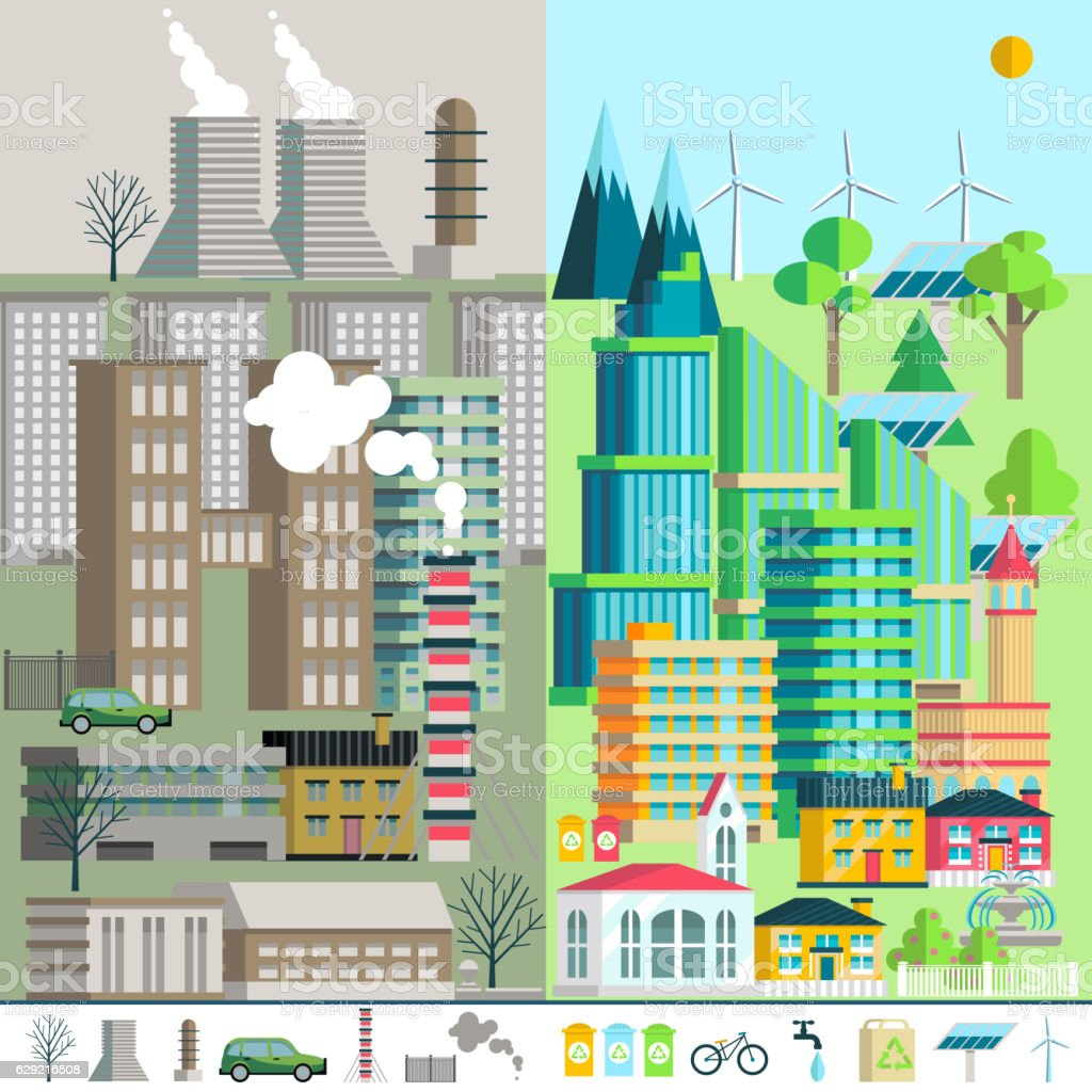 Urban landscape, environment, ecology, elements of infographics. vector art illustration