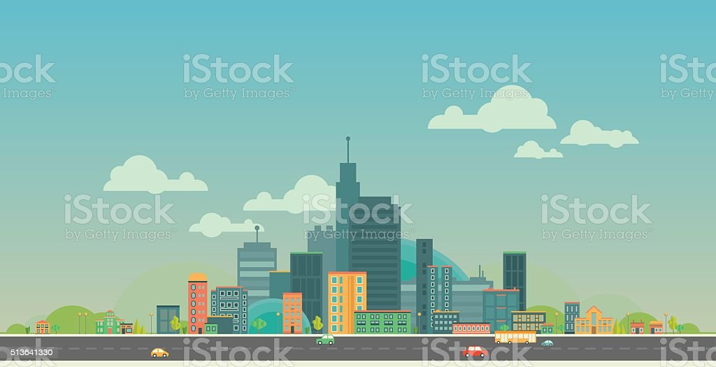 Urban landscape. Flat city. vector art illustration