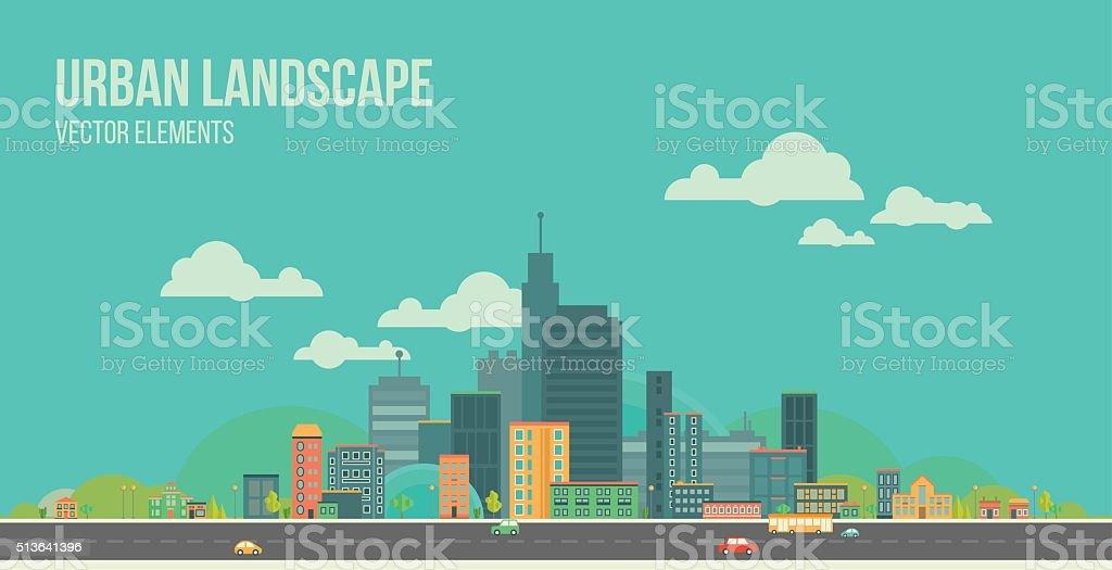 Urban landscape. Flat city. vector art illustration