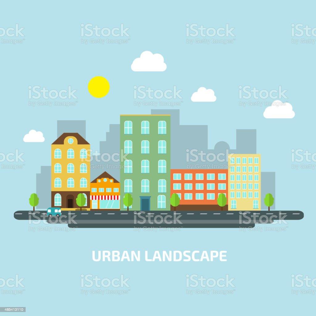 urban landscape flat style day vector art illustration
