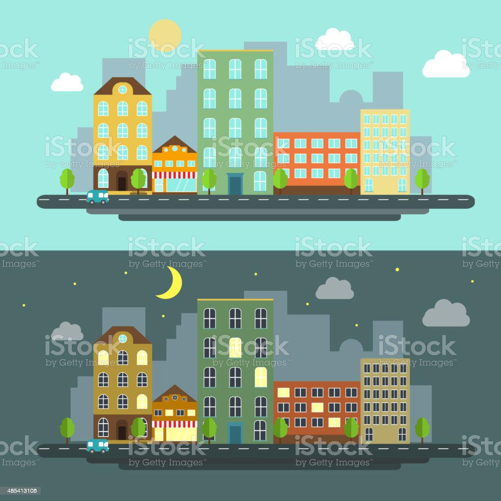 urban landscape flat style night and day vector art illustration