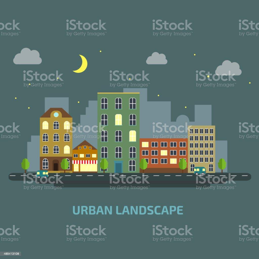 urban landscape flat style night vector art illustration