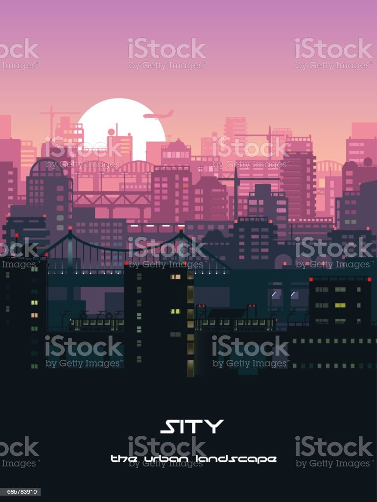 Urban landscape illustration vector art illustration