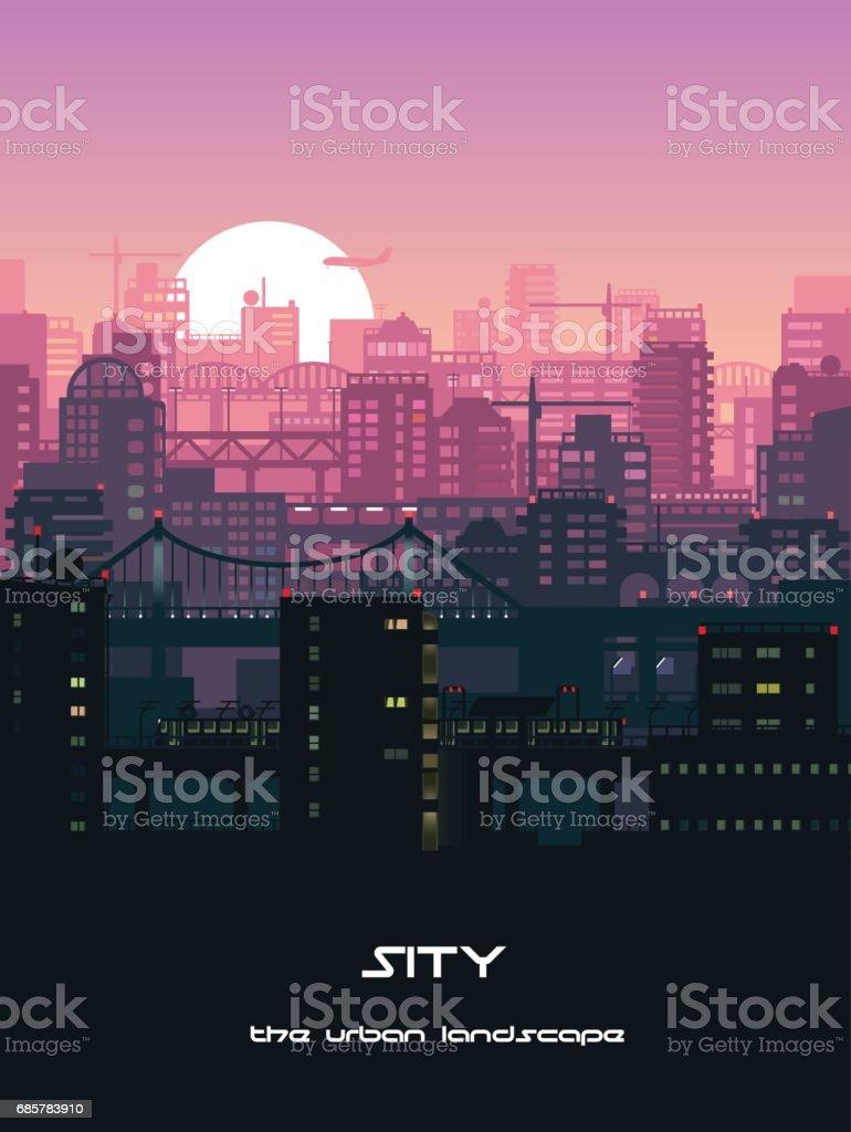 Urban landscape illustration vector art illustration