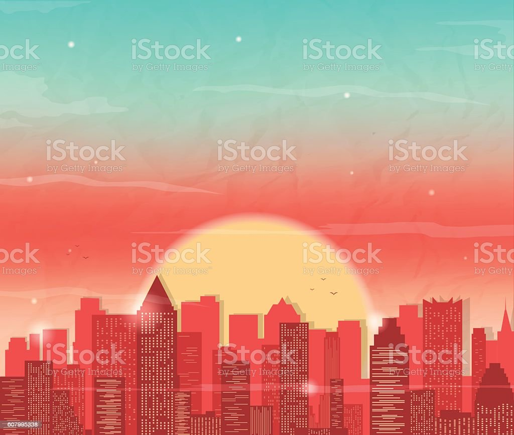 Urban landscape with skyscraper. Sunset in city. Vector background royalty-free stock vector art