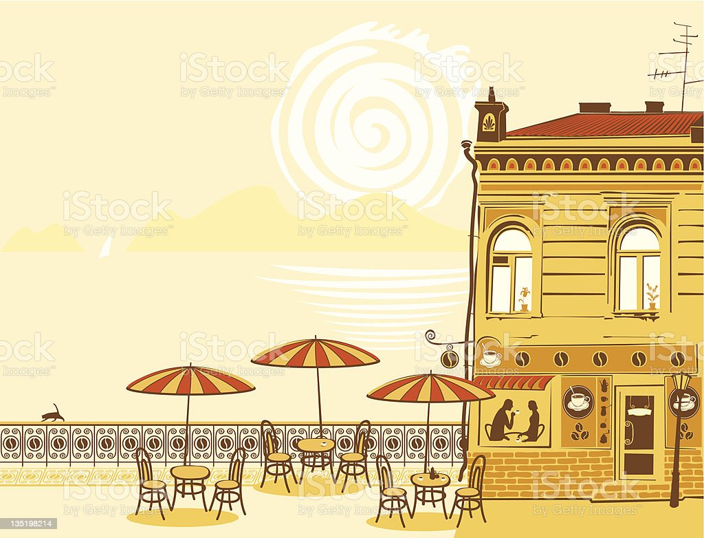 urban landscape with street cafes royalty-free stock vector art