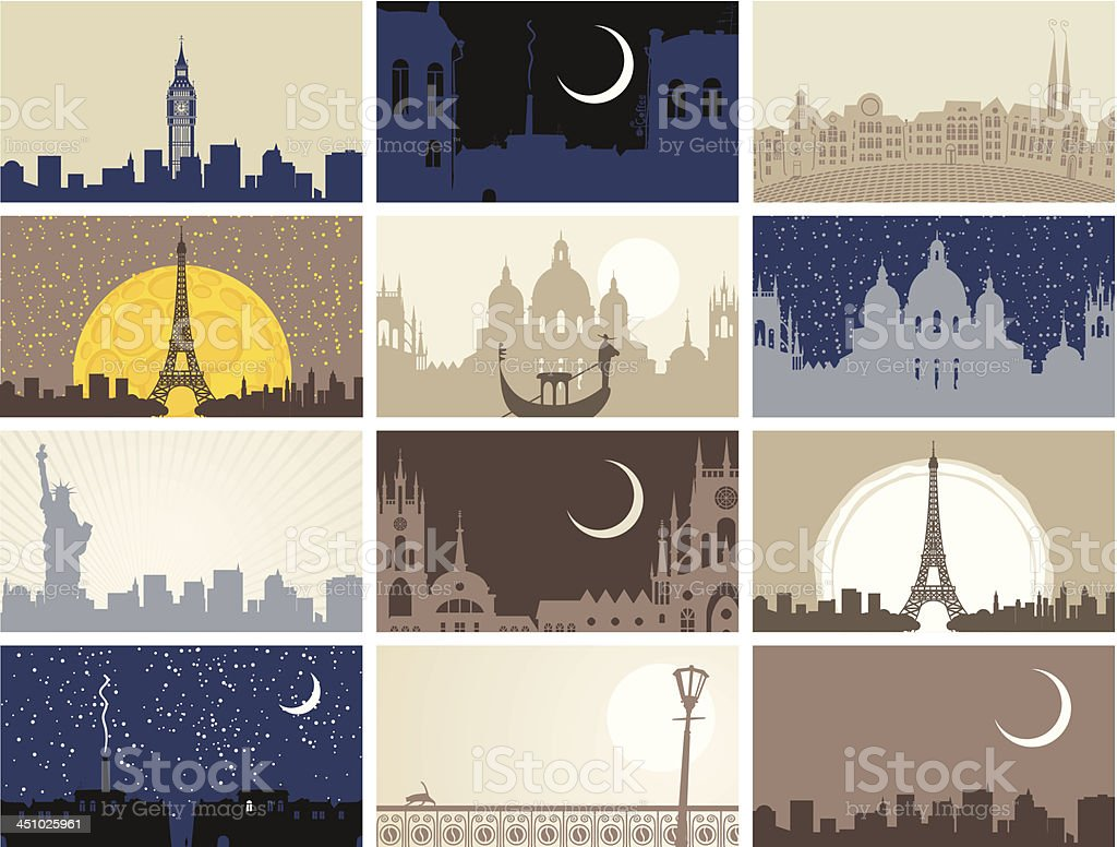 urban landscapes vector art illustration