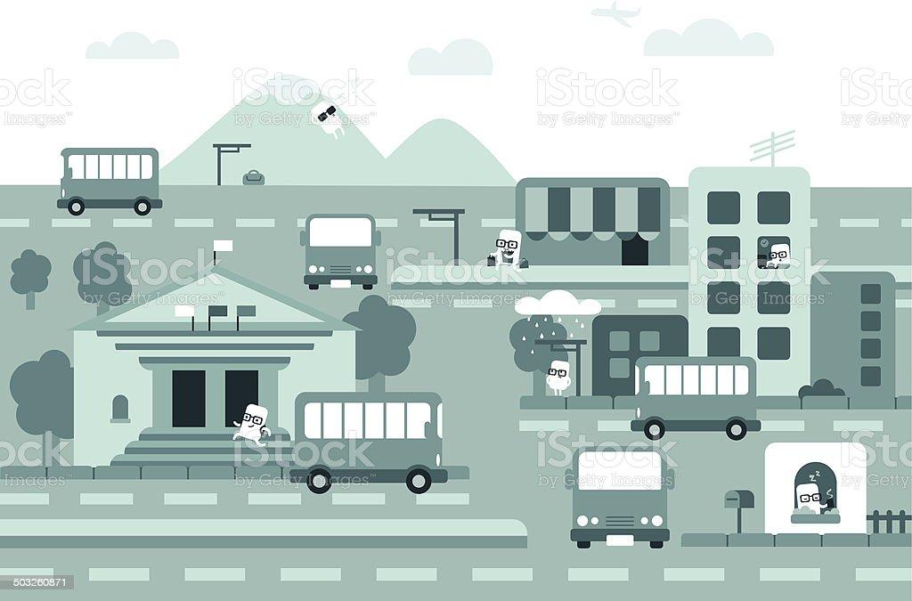Urban Life vector art illustration