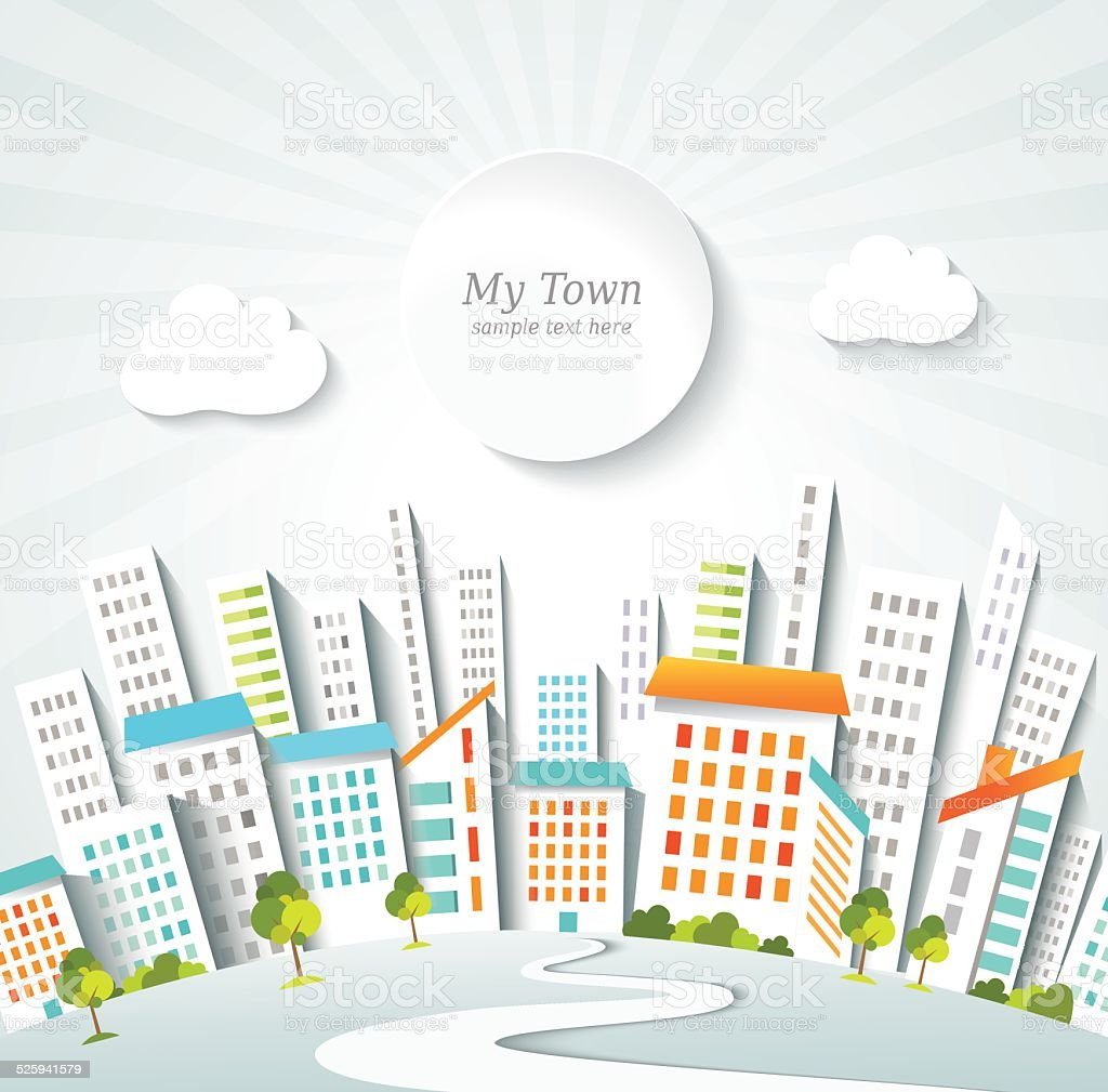 Urban lifestyle. Town panorama. Conceptual background. vector art illustration