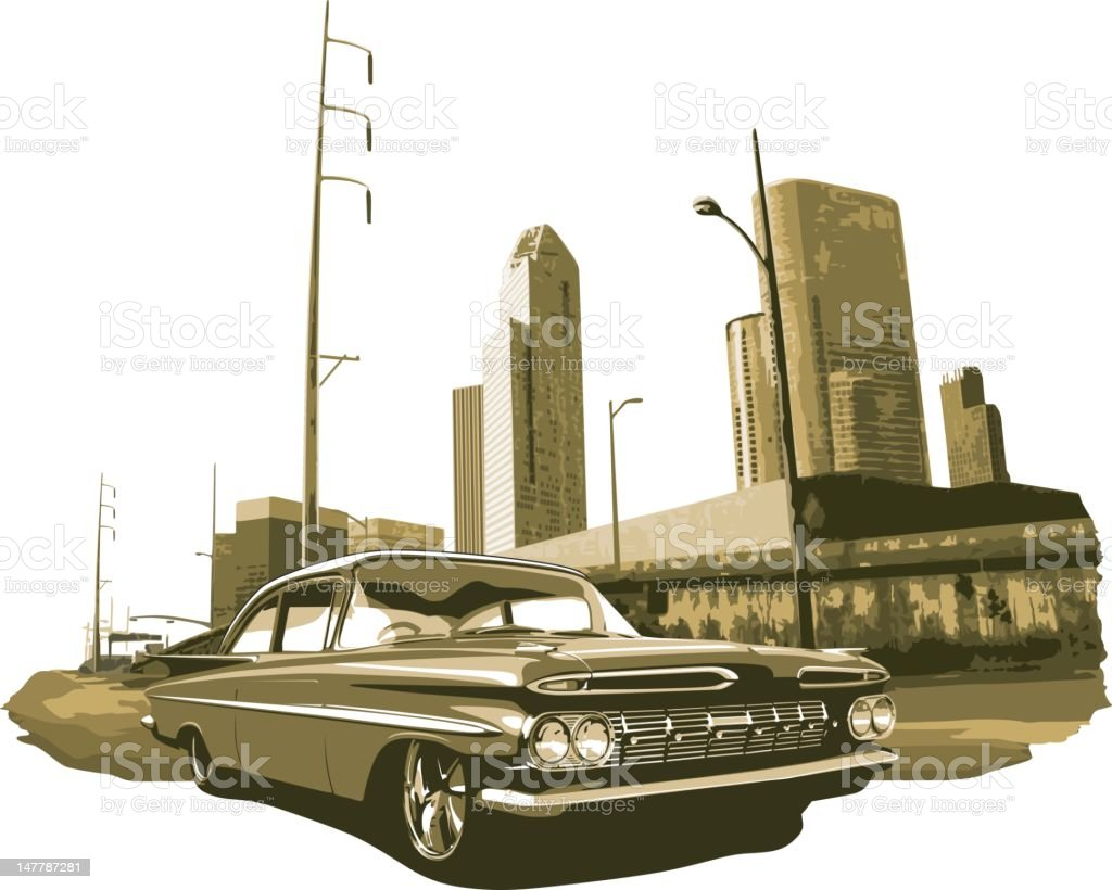 Urban Lowrider in Gold Monochromatic vector art illustration