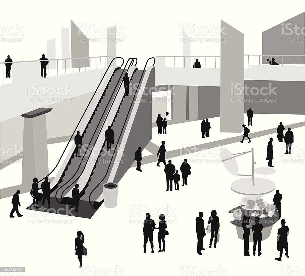 Urban Mall Vector Silhouette royalty-free stock vector art