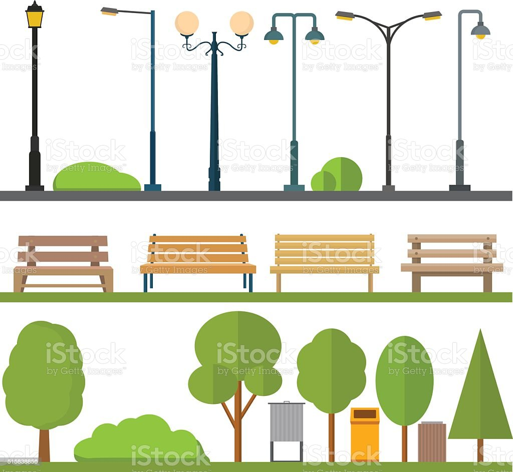 Urban outdoor decor elements vector art illustration