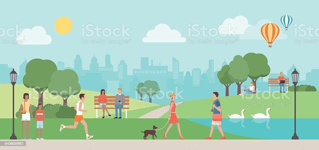 Urban park vector art illustration