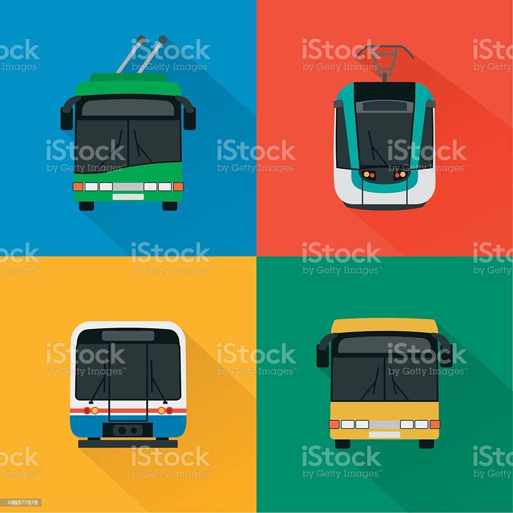 Urban public transport set , modern design flat vector art illustration