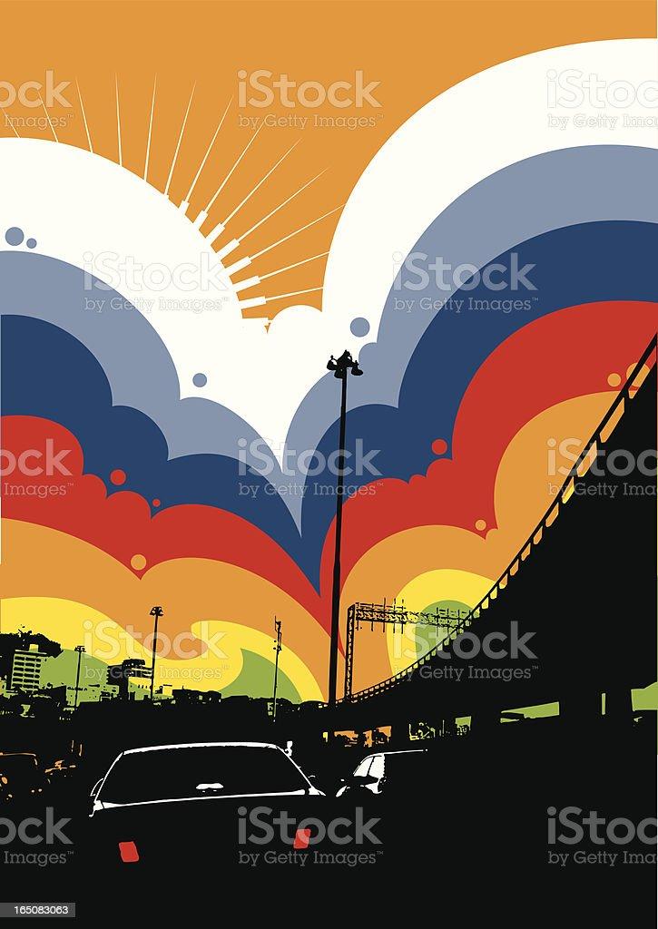 Urban rainbow cloud vector art illustration