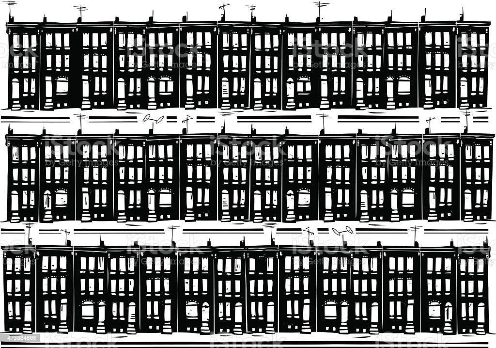 Urban Row Homes vector art illustration