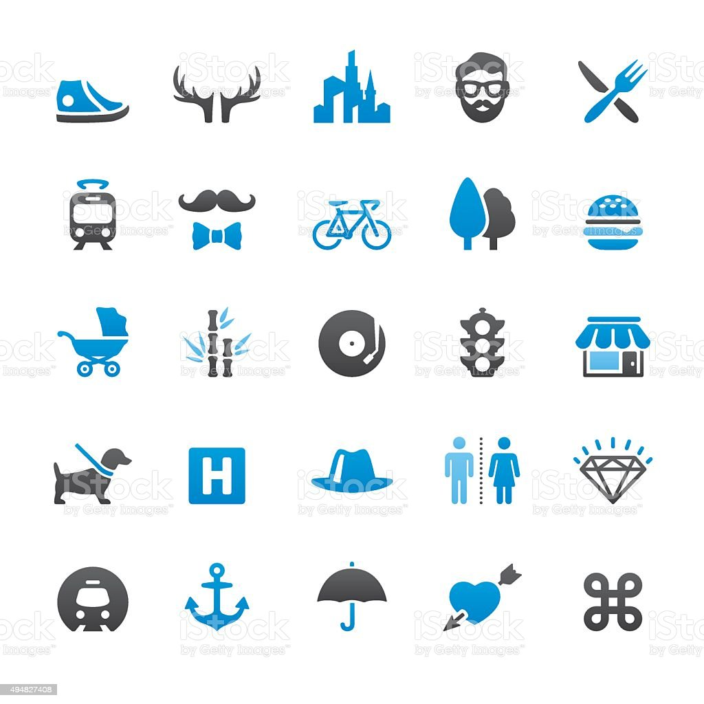 Urban Scene and City Life related vector icons vector art illustration