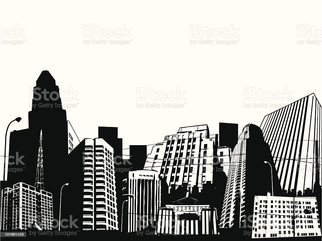 urban scene vector art illustration
