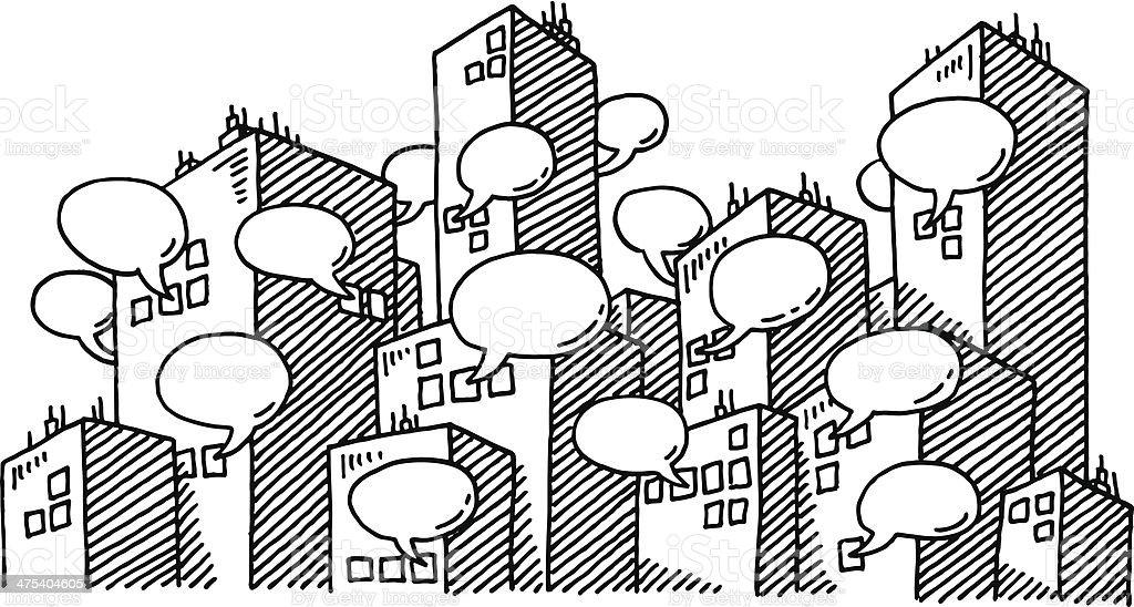 Urban Skyline Speech Bubbles Drawing vector art illustration